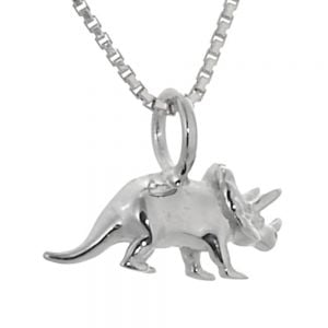 Amazing Sterling Silver Jewellery: Small Triceratops Dinosaur Pendant (16mm x 12mm x 5mm) (N104)