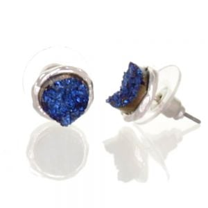 Beautiful Fashion Jewellery: Small and Delicate Blue Druzy and Silver Tone Stud Earrings (I33)B)