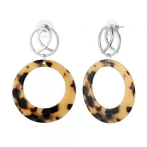 Statement Fashion Jewellery: Silver Twist and Large Tortoiseshell Tone Drop Earrings (6.2cm x 4.4cm) (YK390)