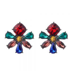 Striking Fashion Jewellery: Large Daisy Stud Earrings with Beautiful Rainbow Crystal Design [2.5cm x 2.5cm] (M607)
