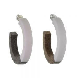 Gorgeous Fashion Jewellery:  3/4 Wooden Hoop Earrings in Natural Tone Wood And White Resin (3.5cm Diameter) (SB57)C)