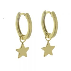 Minimalist Sterling Silver: Tiny Gold Hinged Hoop Earrings with Gold Star Charms (13mm x 19mm) (E400)G)
