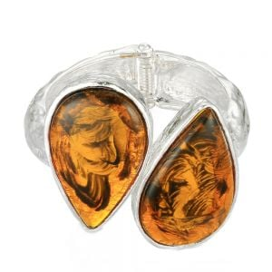 Bold Fashion Jewellery: Tall 5.3cm Hinged Bangle with Crumpled Texture and Large Amber Tone Gems (YK376)