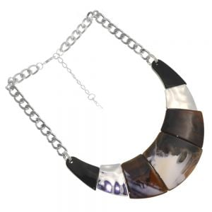 Bold Fashion Jewellery: Statement Silver Tone Collar Necklace with Elegant Tones of Cream, Toffee and Black (YK350)B)