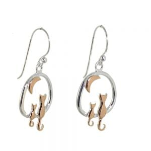Sterling Silver with Rose Gold Jewellery: Lovely Moon Gazing Cats Earrings (Design: 20mm x 14mm) (E433)