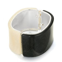 Amazing Fashion Jewellery: Tall 4.4cm Black and Ivory Tone Hinged Bangle with Swirly Shimmer Finish (YK375)B)