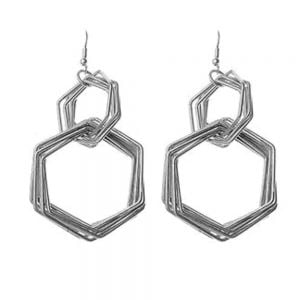 Multi-layered Abstract Wire Design silver Hoops
