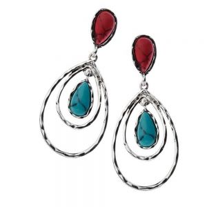 Festival Fashion Jewellery: Double Silver Teardrop Earrings With Blue Turquoise And Red Howlite