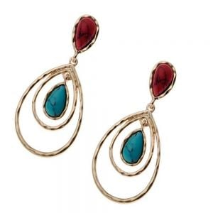 Festival Fashion Jewellery: Double Gold Teardrop Earrings With Blue Turquoise And Red Howlite