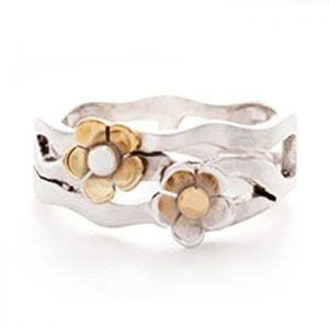 Brushed Sterling Silver Ring with Brass Flowers