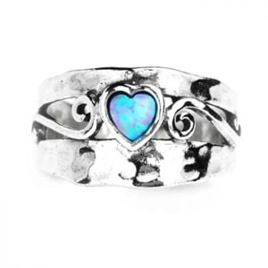 Aviv Sterling Silver: Chunky Spiral Design Ring with Opal Heart
