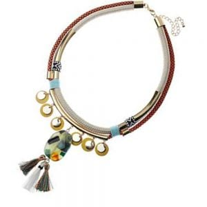 Festival Fashion: Colourful Cord Statement Collar wih Patterned Beads and Tassels