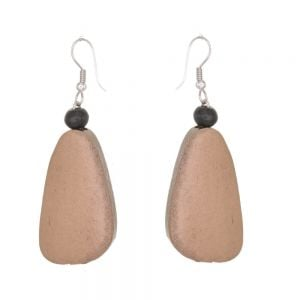Lovely Fashion Jewellery: Metallic Caramel Tone Wooden Chunky Abstract Earrings (6cm x 2cm) (SB5)A)