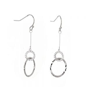 Gracee Fashion Jewellery: Delicate Rose Gold Tone and Crystal Elements Earrings with Linked Circles (4cm Drops) (GR40)R)