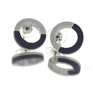 Contemporary Fashion Jewellery:  1.5cm Half Matt Silver and Half Red Circle Studs (I30)H)