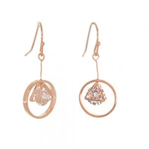 Gracee Fashion Jewellery: Delicate Rose Gold Circle and Triangle Earrings with Encased Swarovski Crystal Elements (3cm Drops) (GR101)R)