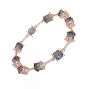 Gracee Fashion Jewellery: Elegant Bracelet with Silver Tubes, Rose Gold Squares and Blue Crystal Elements (GR70)B)