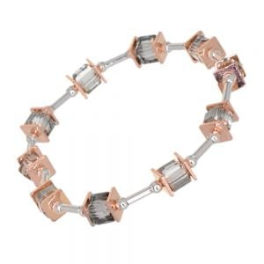 Gracee Fashion Jewellery: Elegant Bracelet with Silver Tubes, Rose Gold Squares and Swarovski Crystal Elements (GR70)A)