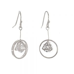 Gracee Fashion Jewellery: Delicate Silver Circle and Triangle Earrings with Encased Swarovski  Crystal Elements (3cm Drops) (GR101)S)