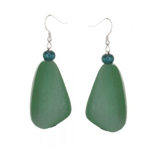 Lovely Fashion Jewellery: Forest Green Wooden Chunky Abstract Earrings (6cm x 2cm) (SB5)D)