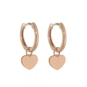 Minimalist Sterling Silver: Tiny Rose Gold Hinged Hoop Earrings with Rose Gold Heart Charms (13mm x 19mm) (E368)RG)