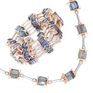 Gracee Fashion Jewellery: Elegant 40cm Necklace with Silver Tubes, Rose Gold Squares and Blue Swarovski Crystal Elements (GR81)B)