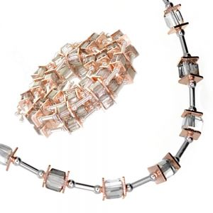 Gracee Fashion Jewellery: Elegant 40cm Necklace with Silver Tubes, Rose Gold Squares and Swarovski Crystal Elements (GR81)A)