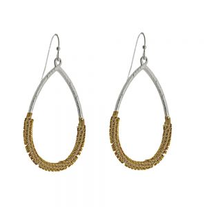 Unusual Fashion Jewellery: Chainmail Wrapped Teardrops in Silver and Gold Tone (Fill Drop: 5.2cm) (I28)B)