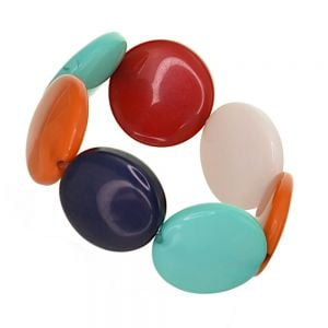 Stunning Fashion Jewellery: Stretch Bracelet with Chunky red Multi disc beads (SB69)R