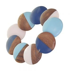 Stunning Fashion Jewellery: Stretch Bracelet with Chunky Blue and Wooden overlapping Beads (SB698)B