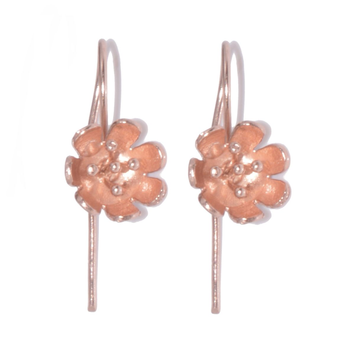 Sterling Silver Jewellery: Long Hooked Poppy Earrings Plated With Rose-Gold  (E329)