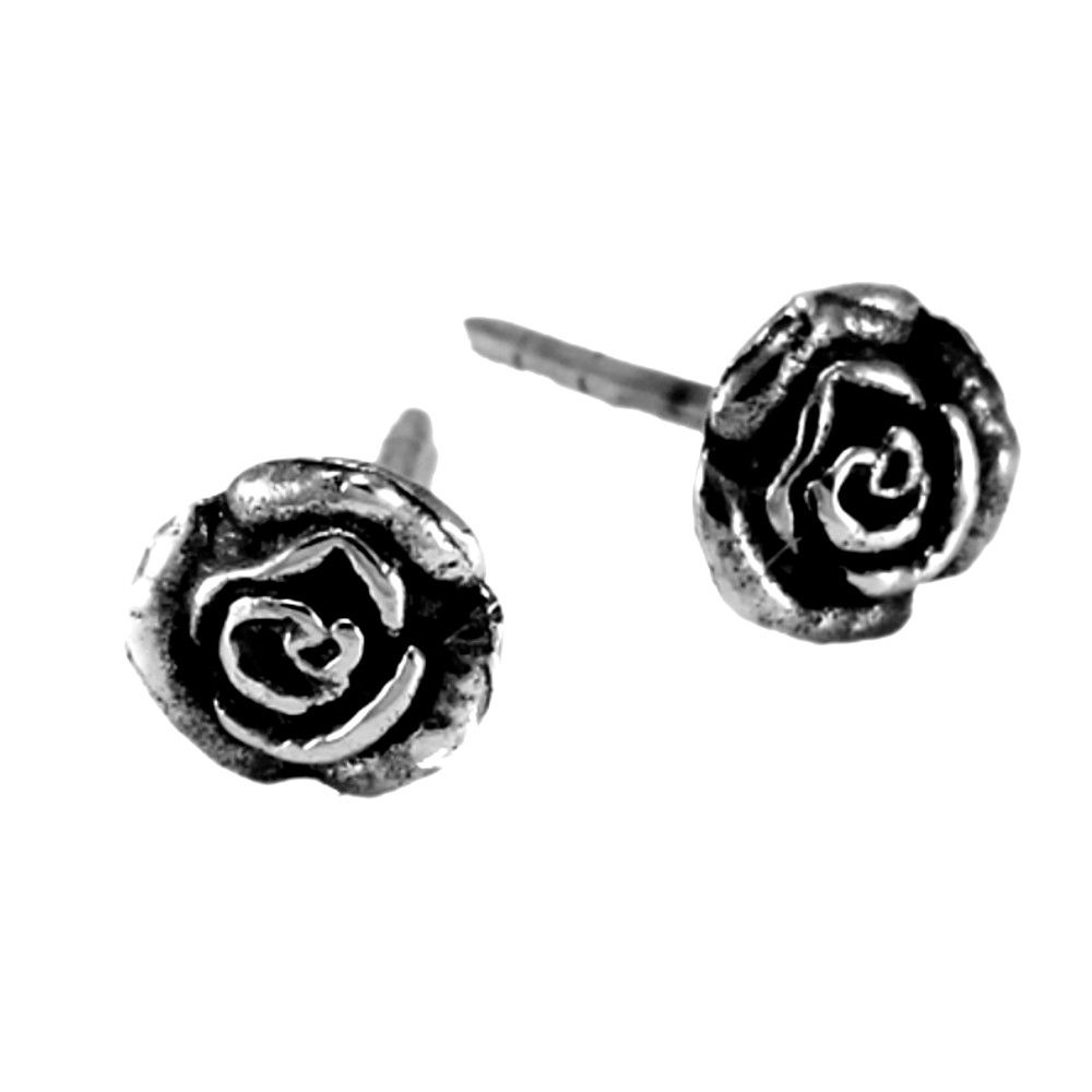 6a220437b 925 sterling silver jewellery york fashion jewellery Sterling Silver  Jewellery: Tiny (6mm) Oxidised Rose Stud Earrings (E512) 925 Sterling  silver jewellery ...