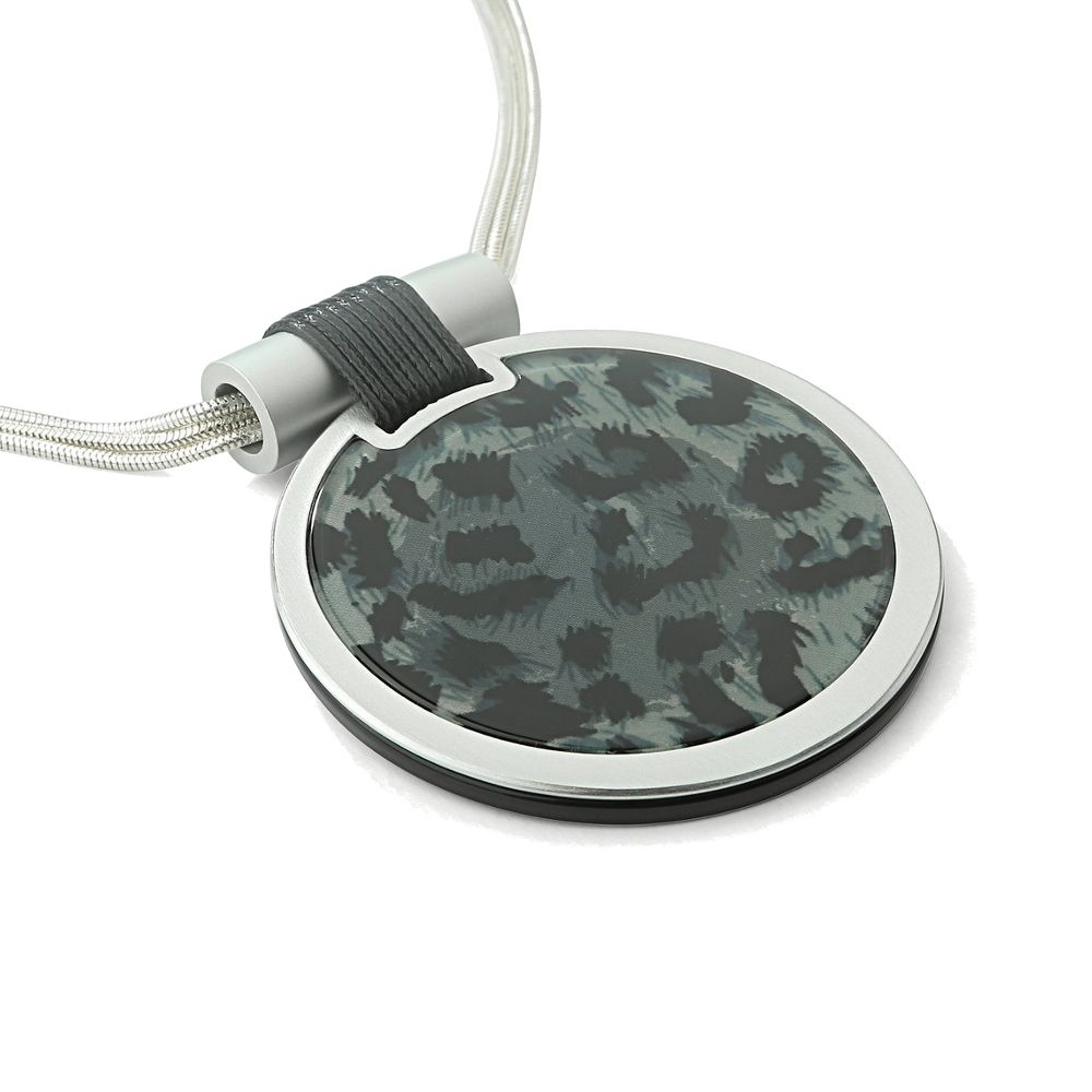 663d847bc0724 Statement Fashion Jewellery: Multi-Strand Silver Necklace with Large  Blue/grey Leopard Print Disc Pendant (YK171)