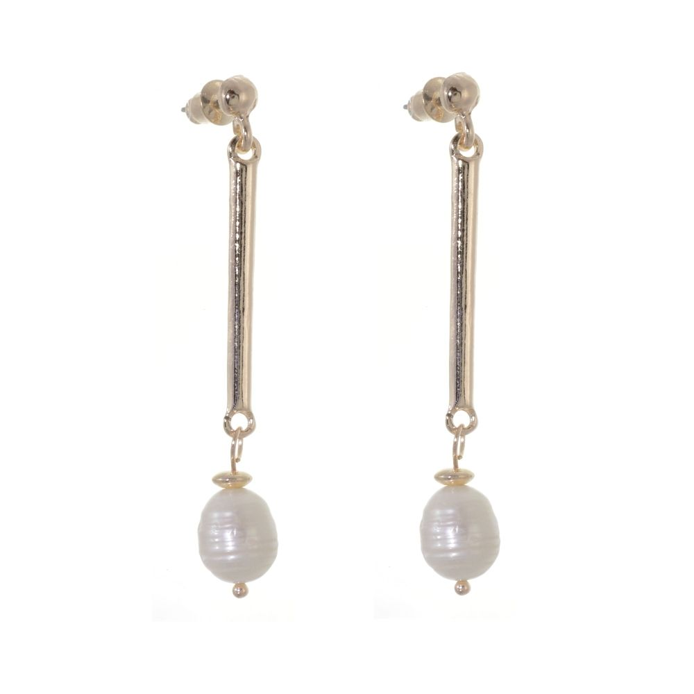 d3b969351dd Elegant Fashion Jewellery: Long Rose Gold Stick and Freshwater Pearl Dangly  Stud Earrings (Full Drop: 59mm) (R624)