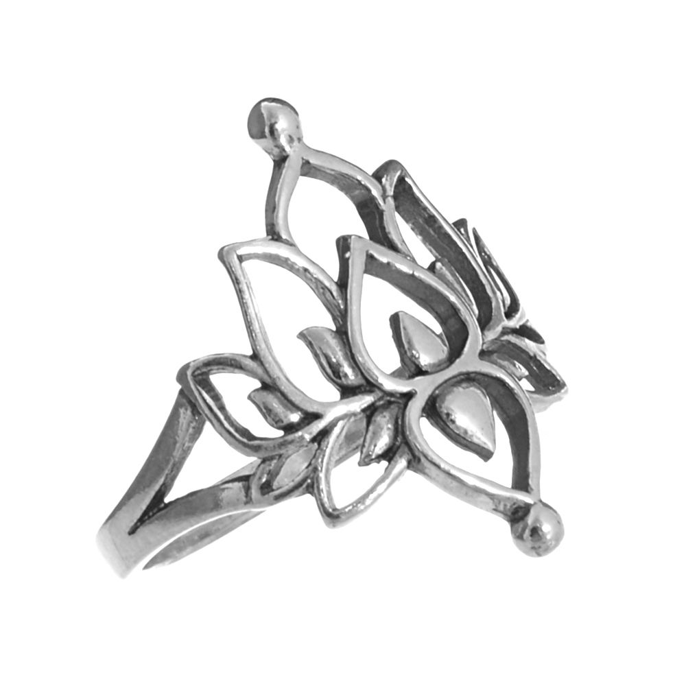 X Sterling Silver Jewellery Beautiful Lotus Flower Outline Ring