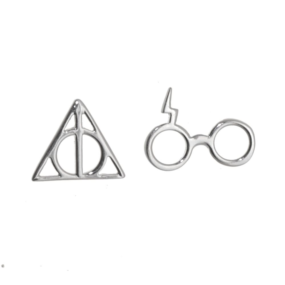 a31bc50a1 ... jewellery Magical Sterling Silver Jewellery: Glasses and Lightning Bolt  Design and Triangle Design Asymmetric Stud Earrings, harry potter 925  Sterling ...